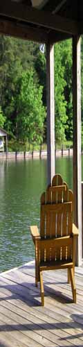 Chair on a pier on a North Carolina lake