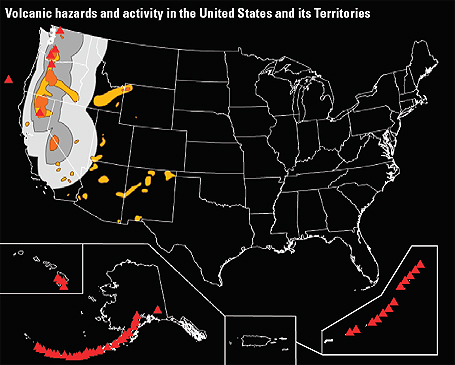 US Volcano Hazard Risk Map - Map of volcanoes in the us